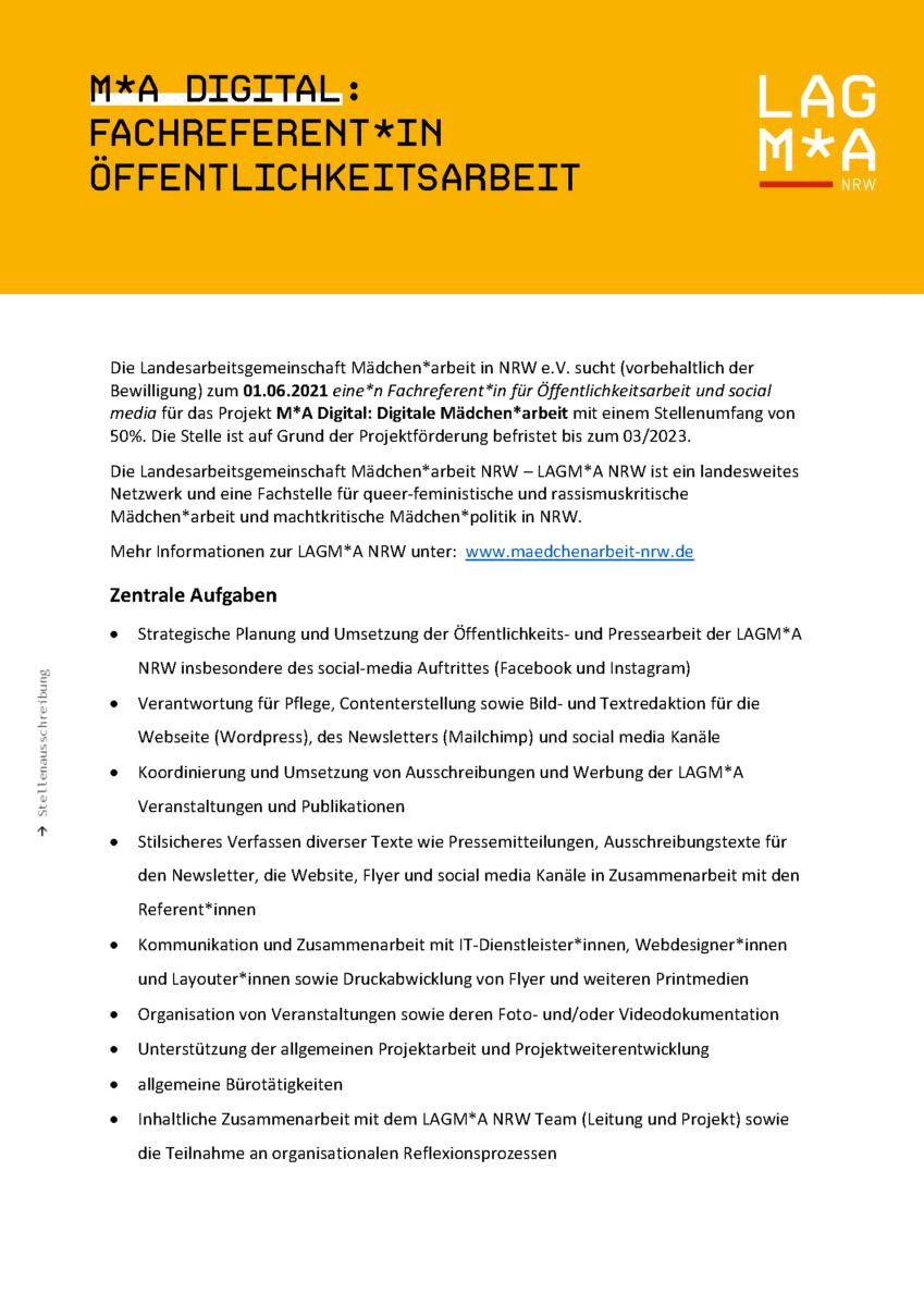 Stellenausschreibung LAG Maedchenarbeit NRW